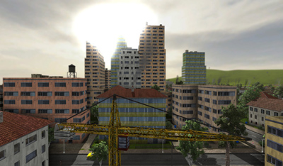 Procedural buildings generated at run-time.